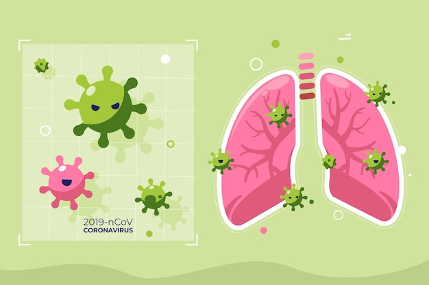 Illustriertes coronavirus-konzept in der lunge