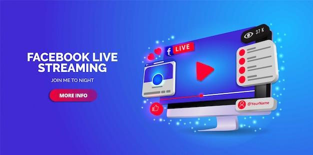 Illustriertes design von facebook live in ihrem konto.