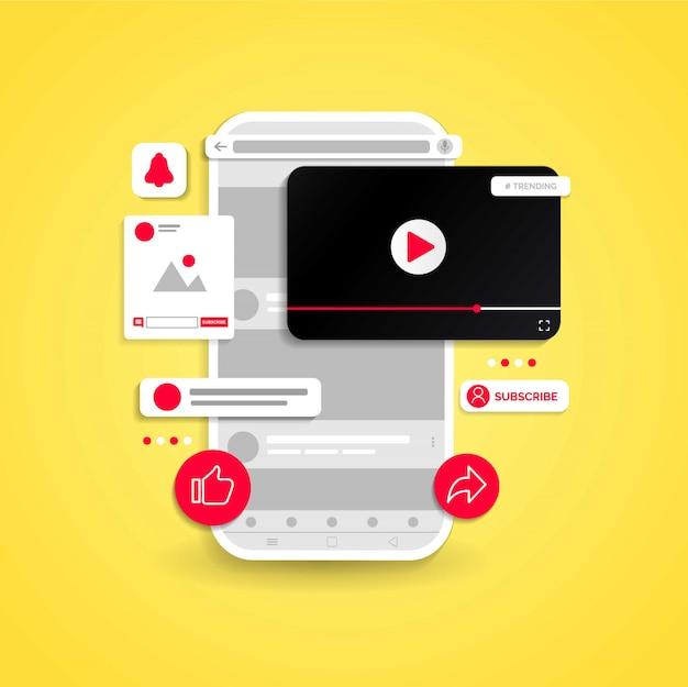 Illustriertes design von youtube-kanal.