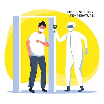 Illustriertes design zur überprüfung der körpertemperatur