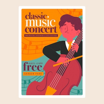 Illustriertes festivalplakat der klassischen musik