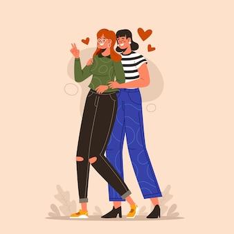 Illustriertes flaches lesbisches paar Kostenlosen Vektoren