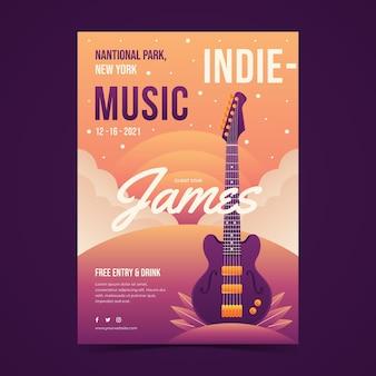 Illustriertes flyer-musikfestival