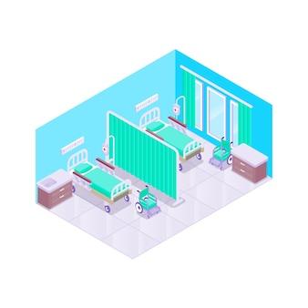 Illustriertes isometrisches krankenzimmer