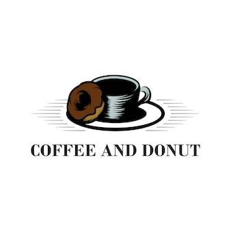 Illustriertes kaffee- und donut-design-logo für lebensmittel- und getränkeunternehmen
