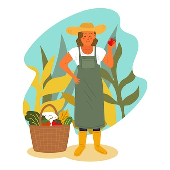 Illustriertes konzept der organischen landwirtschaft
