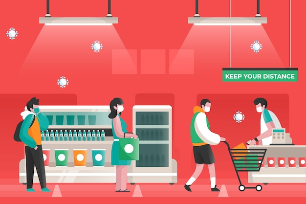 Illustriertes konzept des coronavirus-supermarkts