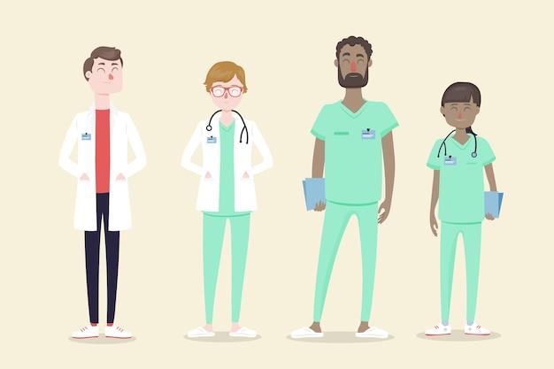 Illustriertes konzept des medizinischen fachpersonalteams