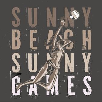 Illustriertes mädchen, das volleyball im strand spielt