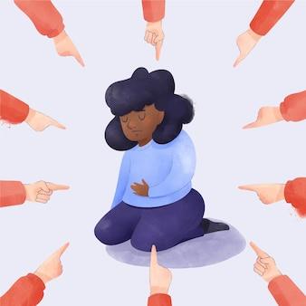 Illustriertes mädchen, das wegen ihrer hautfarbe gemobbt wird