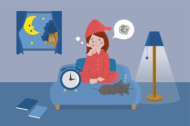 Illustriertes mädchen im bett mit schlaflosigkeit