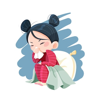 Illustriertes mädchen mit einer erkältung