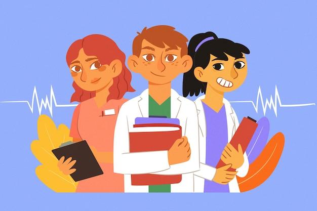 Illustriertes medizinisches team