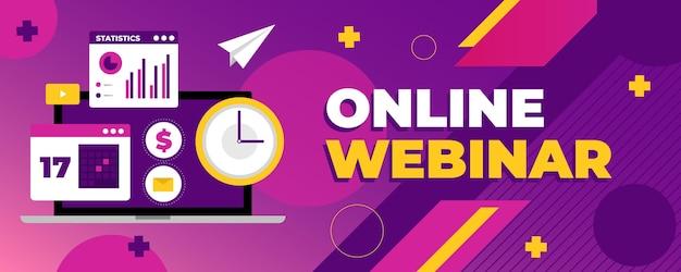 Illustriertes online-webinar-banner Kostenlosen Vektoren
