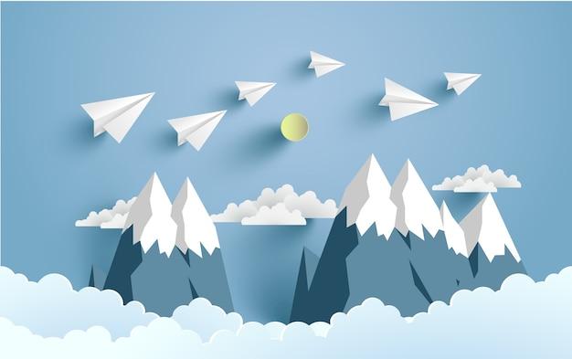 Illustriertes papierflugzeug für hintergrund, plakat oder tapete. papierkunst design