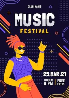 Illustriertes plakat des musikfestivals Kostenlosen Vektoren