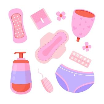 Illustriertes set für damenhygieneprodukte