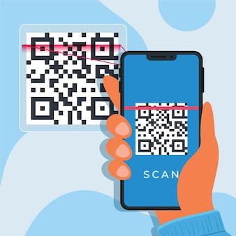 Illustriertes smartphone, das einen qr-code scannt