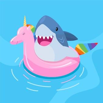 Illustriertes thema des babyhais des flachen entwurfs