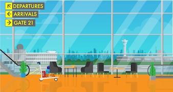 Im Abflughafengebäude mit Blick auf die Stadt