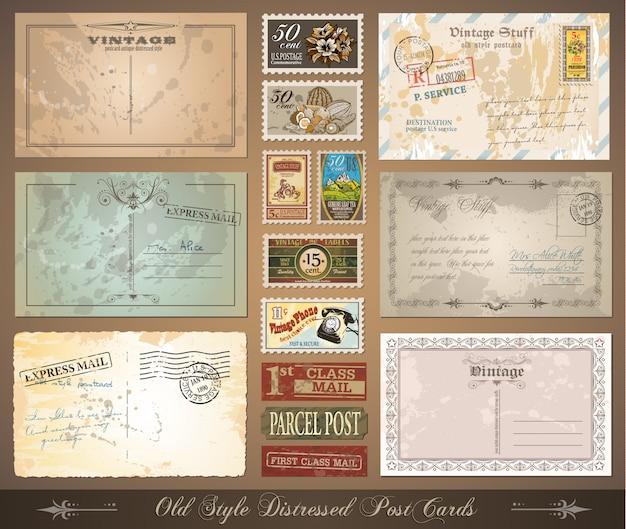 Im altem stil beunruhigte vintage postkarten