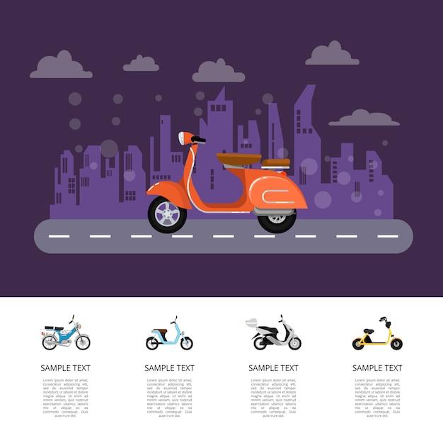 Im altem stil moped auf straßenplakat in der flachen art