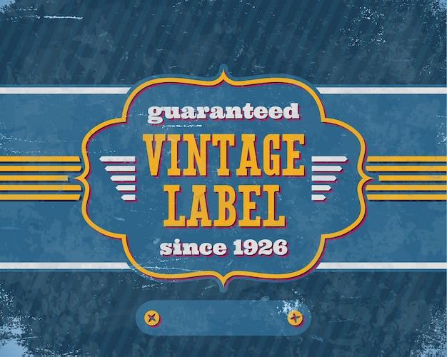 Im alter von vintage labelon auf blauem karton