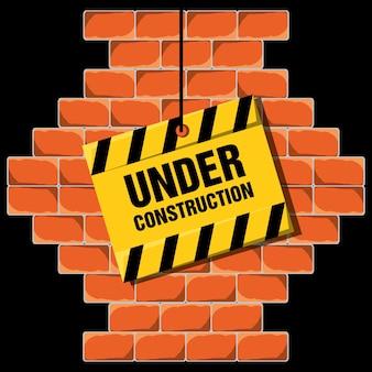 Im bau, der über backsteinmauerkonzept warnt
