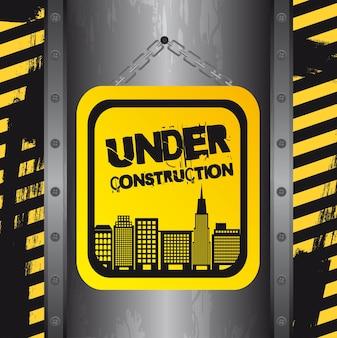 Im Bau mit Gebäuden Grunge-Vektor
