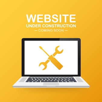 Im bau zeichen der website auf laptop. vektorabbildung für web site.