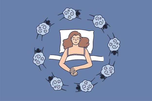 Im bett liegende frau leidet an schlaflosigkeit schafe zählen
