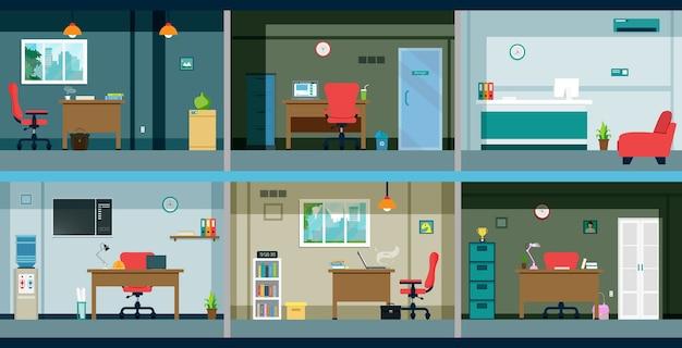 Im büro mit schreibtisch und computer