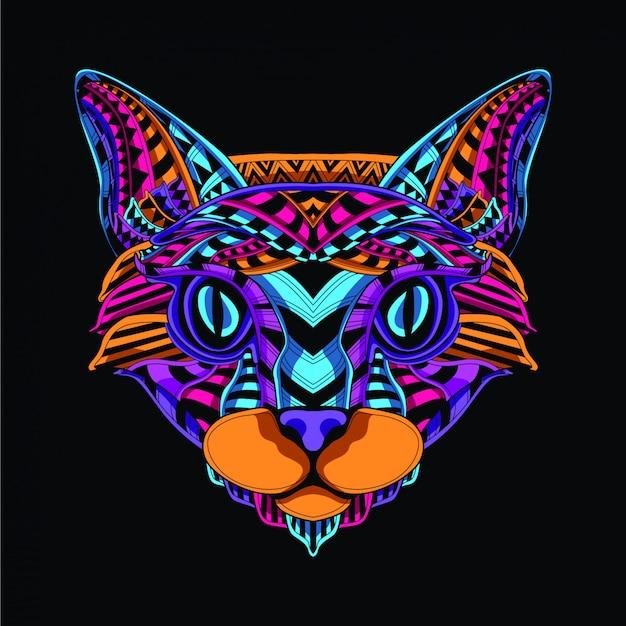 Im dunkeln leuchten dekorative katzengesicht