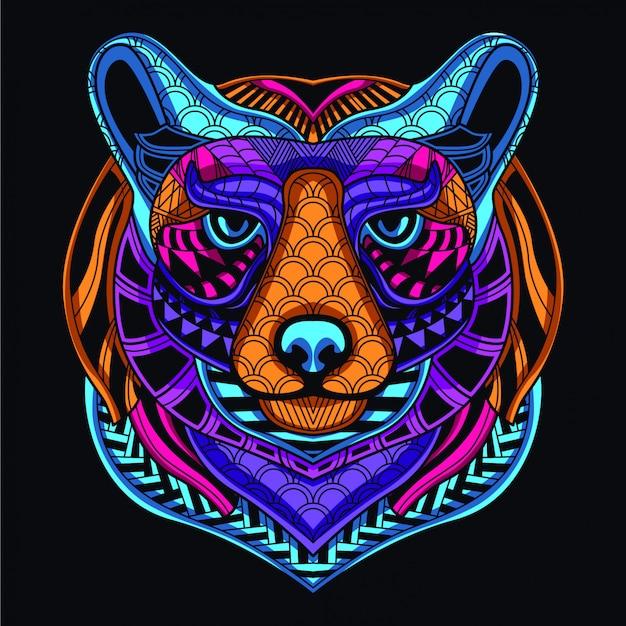 Im dunkeln leuchten dekorativer bärenkopf aus neonfarbe