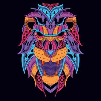 Im dunkeln leuchten löwenkopf mit dekorativer neonfarbe