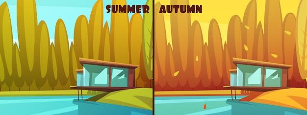 Im freien retro- karikaturartbilder der jahreszeiten der naturparks für sommer und herbst