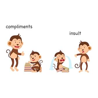 Im gegensatz zu komplimenten und beleidigung vektor-illustration