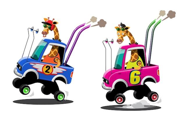 Im geschwindigkeitsrennspiel-wettbewerb benutzte der giraffenfahrer-spieler ein hochgeschwindigkeitsauto, um im rennspiel zu gewinnen