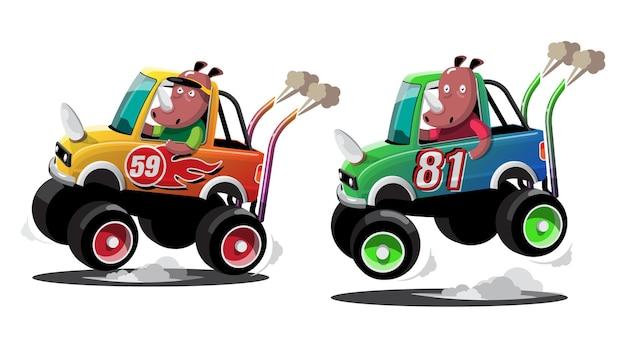 Im geschwindigkeitsrennspiel-wettbewerb benutzte der nashornfahrer ein hochgeschwindigkeitsauto, um im rennspiel zu gewinnen