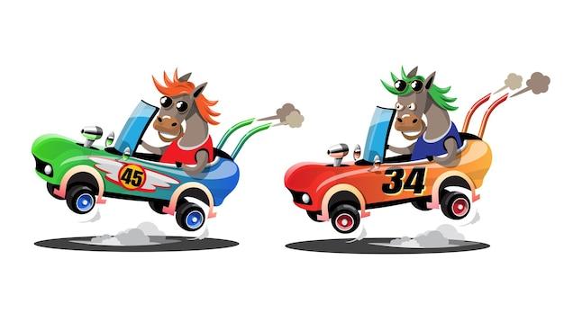 Im geschwindigkeitsrennspiel-wettbewerb benutzte der pferdefahrer ein hochgeschwindigkeitsauto, um im rennspiel zu gewinnen