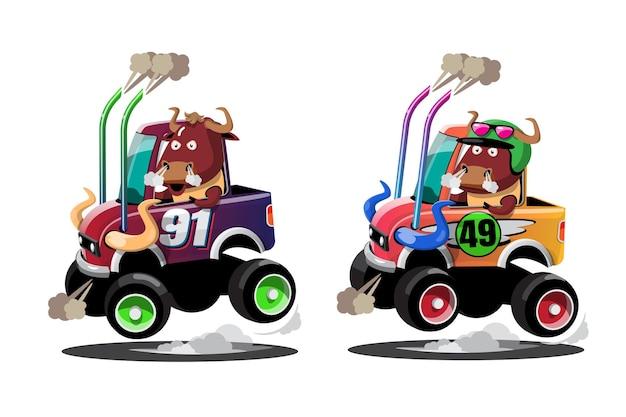 Im speed-rennspiel-wettbewerb benutzte der bison-fahrer ein hochgeschwindigkeitsauto, um im rennspiel zu gewinnen