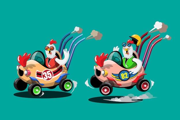 Im speed-rennspiel-wettbewerb benutzte der hühnerfahrer-spieler ein hochgeschwindigkeitsauto, um im rennspiel zu gewinnen