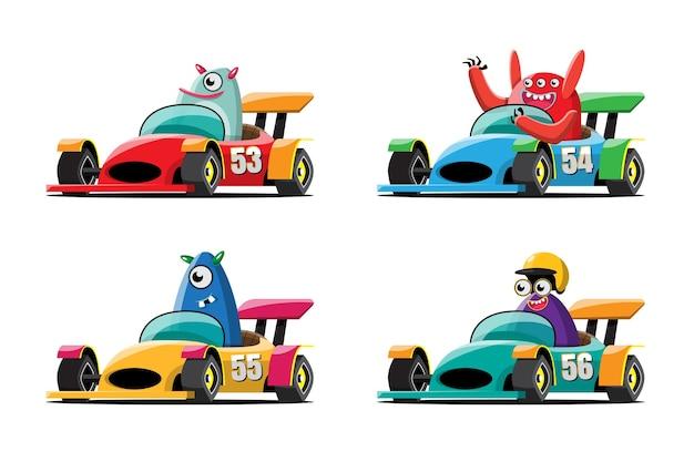 Im speed-rennspiel-wettbewerb benutzte der monsterfahrer-spieler ein hochgeschwindigkeitsauto für den sieg im rennspiel