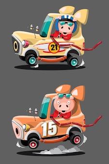 Im speed-rennspiel-wettbewerb benutzte der schweinefahrer-spieler ein hochgeschwindigkeitsauto, um im rennspiel zu gewinnen