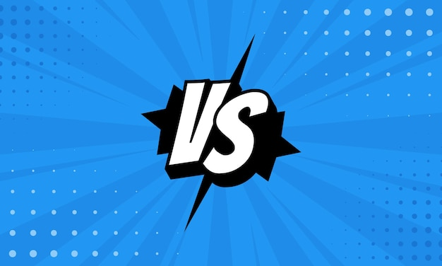 Im vergleich zu vs-buchstaben kämpfen hintergründe im flachen comic-stil mit halbton, blitz. vektor