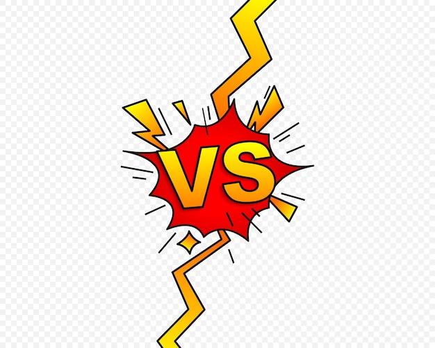 Im vergleich zu vs-buchstaben kämpfen symbol im flachen comic-stil. konfrontationssymbol