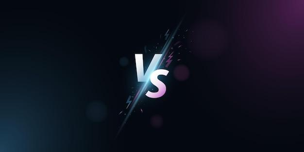 Im vergleich zum hintergrund. vs-bildschirm für sportspiele, match, turnier, e-sport-wettbewerbe, kampfsport, kampfschlachten. lichteffekt mit cartoon-blitz. spielkonzept. vektor-illustration
