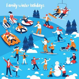 Im wintersport engagierte menschen