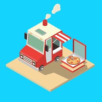 Imbisswagen. lieferungs-meister. streetfood-chef-web-vorlage. flacher ikonen-gesetzter isometrischer lebensmittel-lkw.