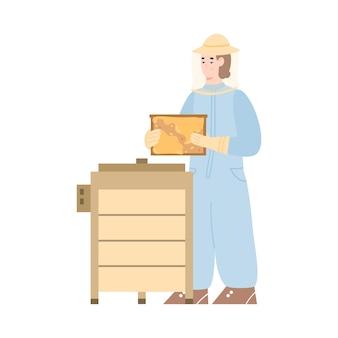 Imker, der honig von der flachen karikaturillustration des bienenstocks erntet